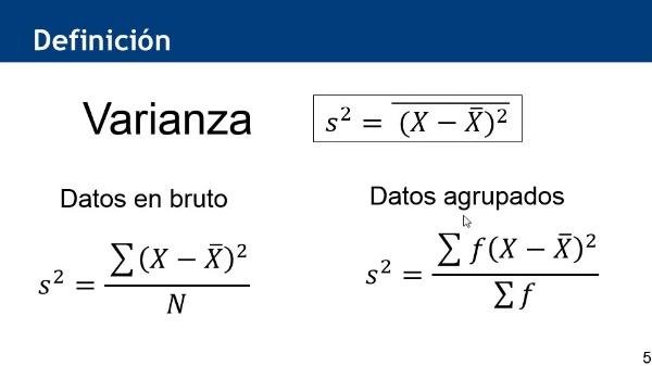 Cálculo de la varianza utilizando hoja de cálculo