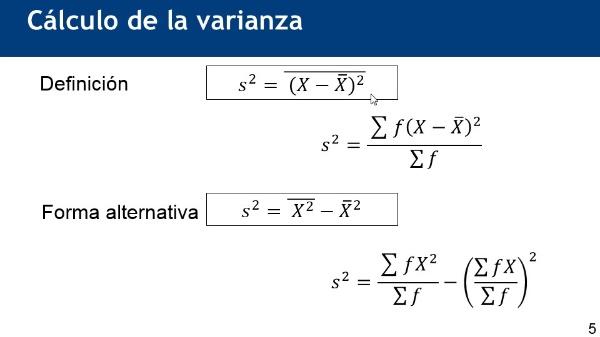 Método abreviado de cálculo de la varianza