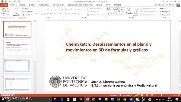 ChemSketch. Movimientos en el plano y tridimensionales de fórmulas y gráficos.