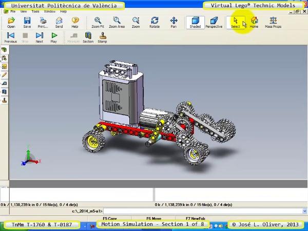Simulación Dinámica Lego Technic T-0187 sobre Base -D- 1 de 8
