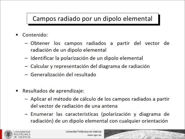 Campos radiados por un dipolo elemental