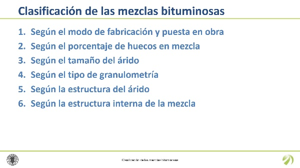 Clasificación de las mezclas bituminosas