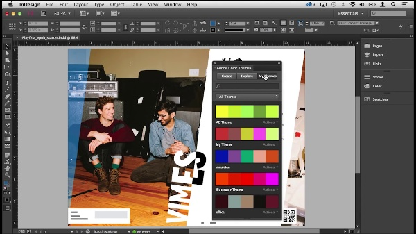 Color themes in InDesign Adobe Creative Cloud