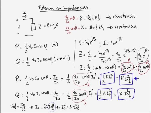 Teoría de Circuitos 1. Lección 6. 2-4. Resumen de cálculo de potencias en impedancias y generadores