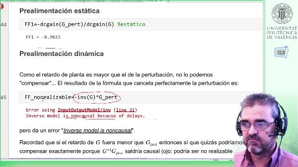 Feedforward (prealimentación) dinámico (1er ord.+retardo): ejemplo Matlab