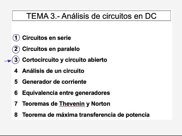 Teoría de Circuitos 1. Lección 3. 3.b.1 cortocircuito y circuito abierto, ejercicio 1