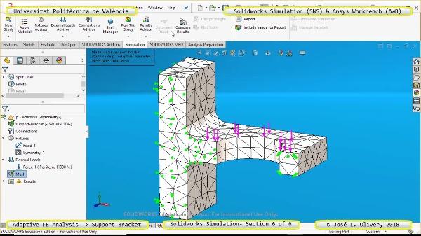 Mallado Adaptativo Pieza Mecánica con Solidworks Simulation v17 - 6 de 6