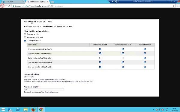 Gestions de permisos de camps en Drupal 7
