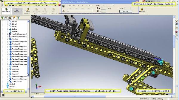 Simulación Cinemática Lego Technic 8421-3 con Cosmos Motion ¿ 06 de 15 - no audio