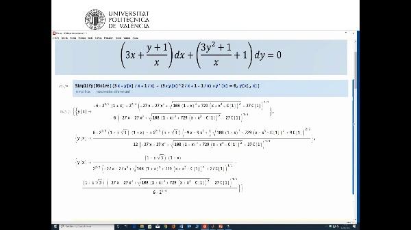 Ecuaciones diferenciales. Factor integrante que depende de x. Mathematica