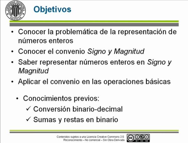Represetnación de enteros: Signo y Magnitud