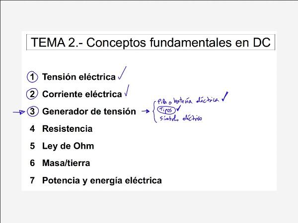2.3.3.- Generador de tensión. Símbolo eléctrico