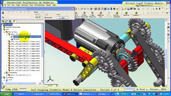 Simulación Dinámica Lego Technic T-1760 sobre Base ¿A- 3 de 9
