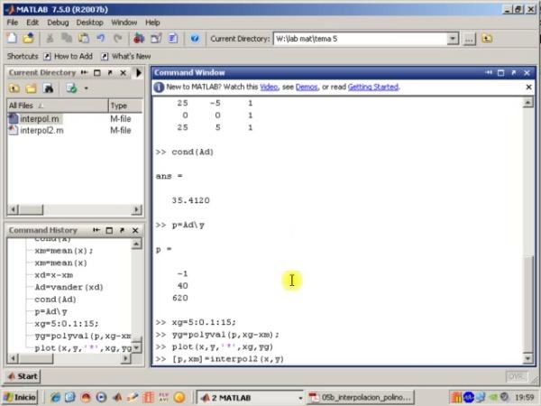 Tema 5. Interpolación polinámica. Programa Interpol con desplazamiento del origen. Error de interpolación (1)