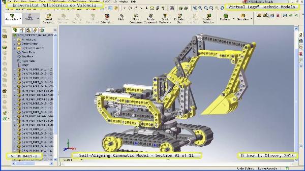 Simulación Cinemática Lego Technic 8419-1 con Cosmos Motion ¿ 01 de 11 - no audio
