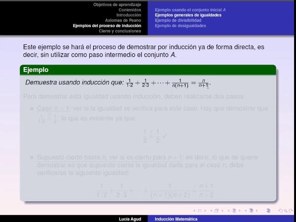 Método de inducción parte 3: ejemplo sin el conjunto A y divisibilidad