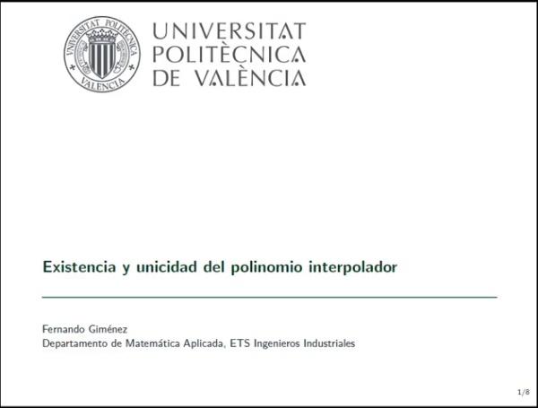 EXISTENCIA Y UNICIDAD DEL POLINOMIO INTERPOLADOR