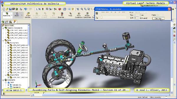Simulación Cinemática Lego Technic 8432-1 con Cosmos Motion ¿ 11 de 24 - no audio