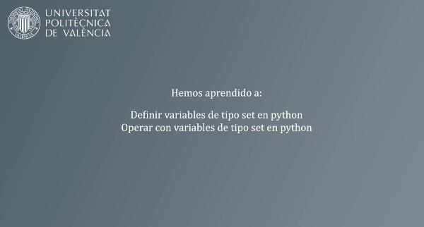 Definición y uso de variables de tipo set en python