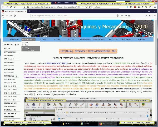 Mecánica y Teoría de Mecanismos ¿ 2020 ¿ MM ¿ Práctica 03 ¿ Tramo 03 de 03