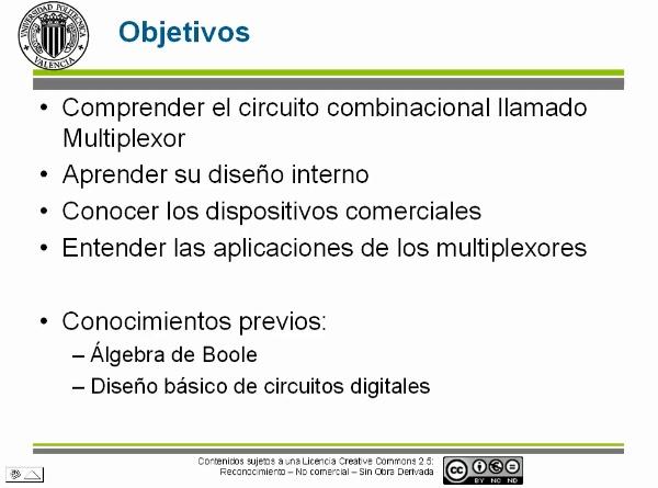 Circuitos combinacionales. multiplexores