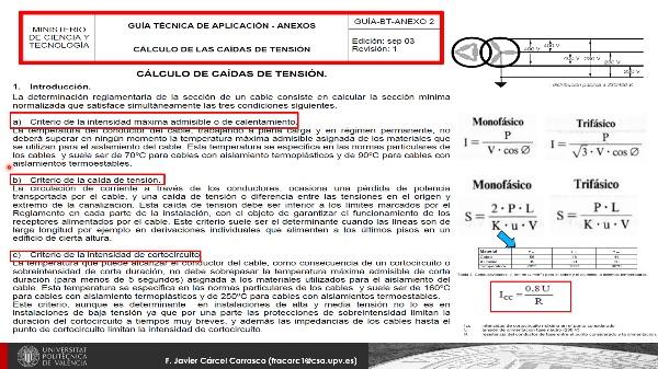 Conceptos de cálculo líneas eléctricas en Baja Tensión (B.T.)