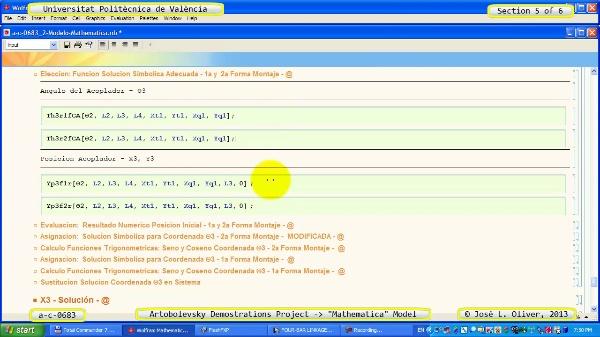 Solución Cinemática Simbólica a_c_0683 con Mathematica -B- 5 de 6