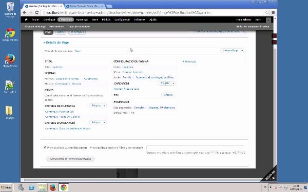 Filtres i ordenació de vistes en Drupal