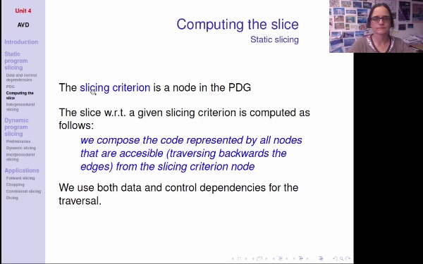 AVD - T4 - Program slicing - Computing the slice