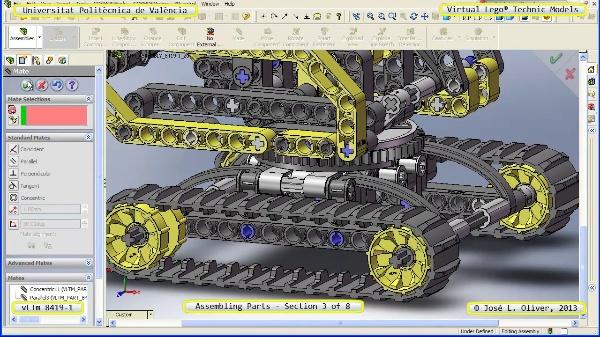 Montaje Modelo Lego Technic 8419-1 con Solidworks ¿ 3 de 8 - no audio