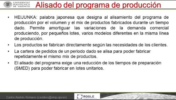 Nivelación de la producción, tiempo de ciclo y reducción de inventarios