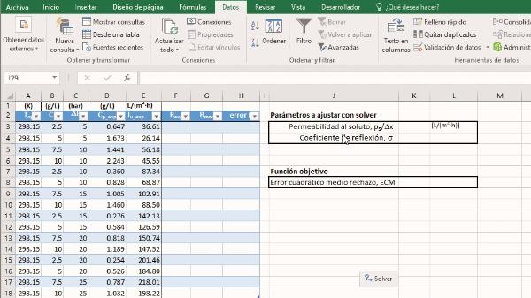 Ajuste con la herramienta Solver de Excel de los parámetros del modelo de un proceso de membranas
