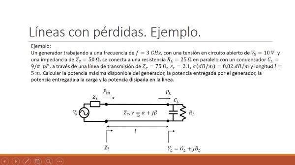 Fundamentos de transmisión. Tema 4.5.4.1. Líneas con pérdidas. Ejemplo.