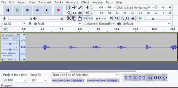 Zoom temporal y de amplitud de señales de audio en Audacity usando el ratón