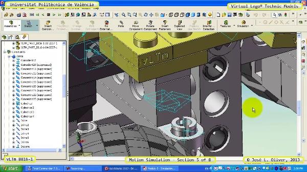 Simulación Cinemática Lego Technic 8816-1 con Cosmos Motion ¿ 5 de 8
