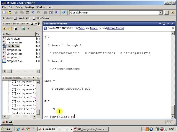 Tema 4. Integración numérica. Algoritmo Simpson-Richardson iterativo. Simpson con Matlab.