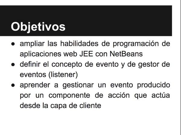 Implementación de una aplicación web JSF con gestión de eventos de acción
