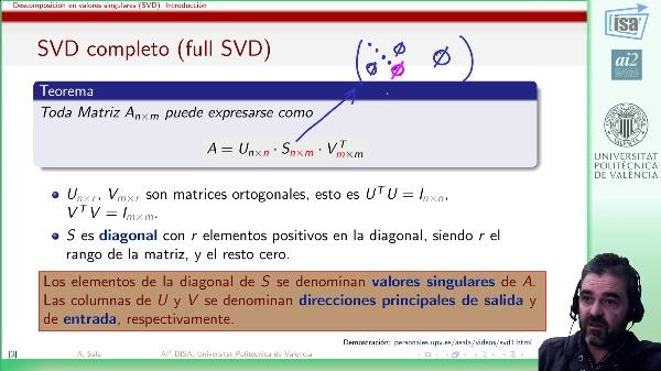 Descomposición en valores singulares (introducción)