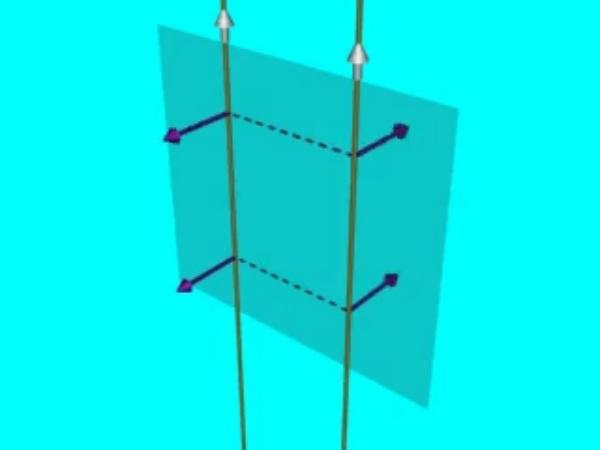 Hilos_Atracción: Fuerza de atracción entre dos hilos conductores rectilíneos paralelos por los que circulan sendas corrientes eléctricas en el mismo sentido