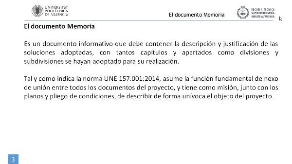 El documento MEMORIA