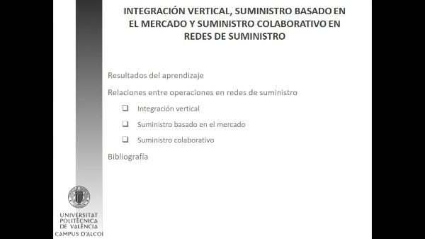 Integración vertical, suministro basado en el mercado y suministro colaborativo en redes de suministro