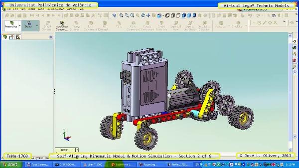Simulación Dinámica Lego Technic T-1760 sobre Base ¿B- 2 de 8