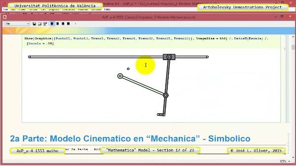 Solución Cinemática Simbólica a-4-1553 con Mathematica - 17 de 23 - Modelo Mathematica ¿ Ambas