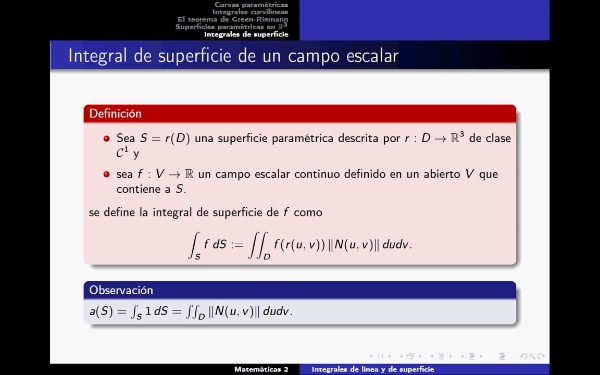 Definición integral de superficie