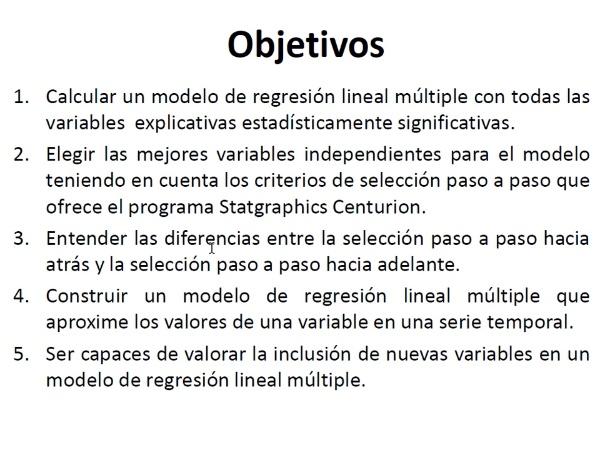 Regresión lineal múltiple con selección paso a paso y Statgraphics