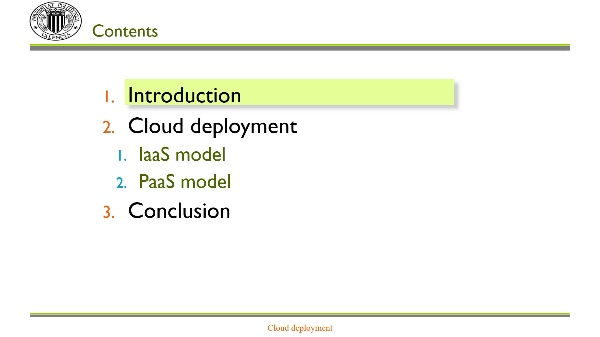 Deployment: Cloud deployment