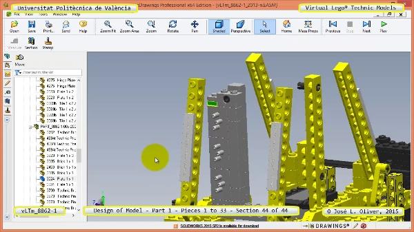 Creación Virtual Modelo Lego Technic 8862-1 ¿ Pieza 1 ¿ 44 de 44
