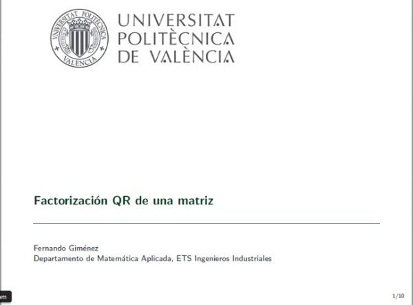 Factorización QR de una matriz
