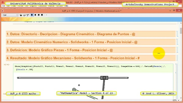 Solución Cinemática Simbólica a-4-1553 con Mathematica - 04 de 23 - Modelo Mathematica