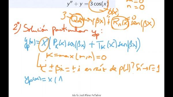 Ejercicio de resolución de ecuación diferencial lineal con coeficientes constantes no homogénea
